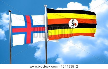 faroe islands flag with Uganda flag, 3D rendering