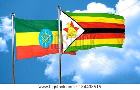 Ethiopia flag with Zimbabwe flag, 3D rendering