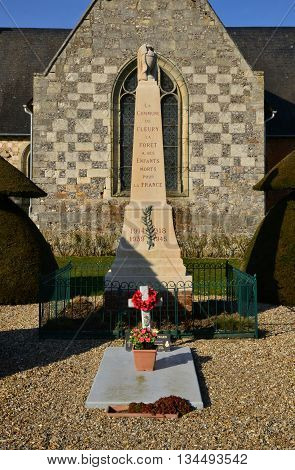 Fleury la Foret France - march 15 2016 : the war memorial near the church