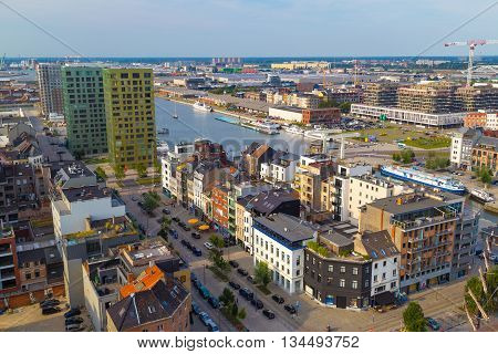 Antwerp, Belgum - 1 August 2015: Aerial view of Antwerp port area with marina harbor from roof terrace museum MAS