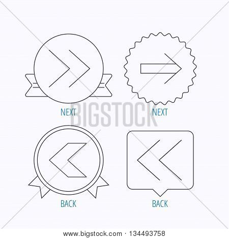 Arrows icons. Left, right direction linear signs. Next, back arrows flat line icons. Award medal, star label and speech bubble designs. Vector