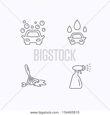 Car wash icons. Automatic cleaning station linear signs. Wet cleaning and spray flat line icons. Flat linear icons on white background. Vector