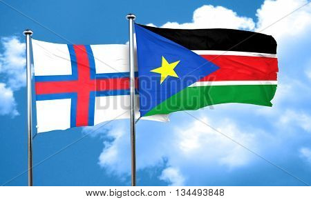 faroe islands flag with South Sudan flag, 3D rendering