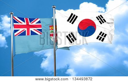 Fiji flag with South Korea flag, 3D rendering