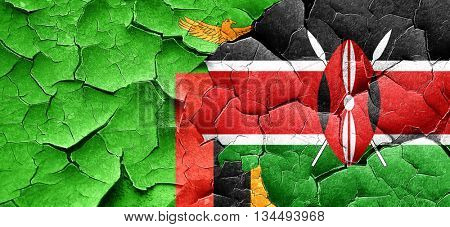 Zambia flag with Kenya flag on a grunge cracked wall