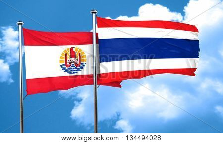 french polynesia flag with Thailand flag, 3D rendering
