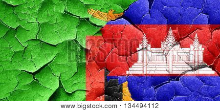 Zambia flag with Cambodia flag on a grunge cracked wall