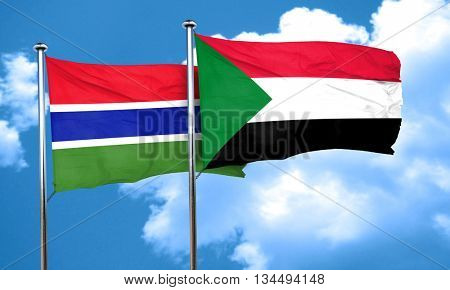 Gambia flag with Sudan flag, 3D rendering