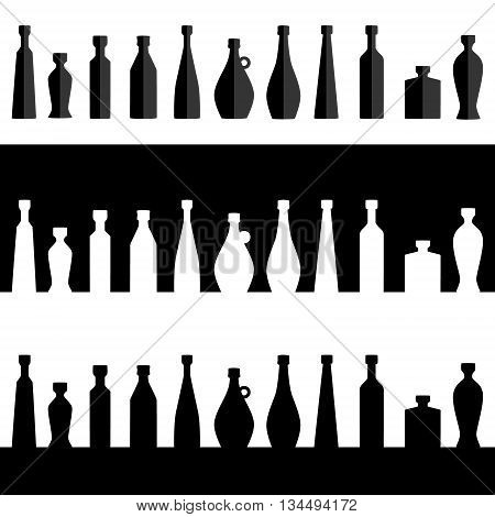 Vector. Bottle row silhouette. Set of bottles. Flat design. Isolated illustration. Range of different vessels bottles.