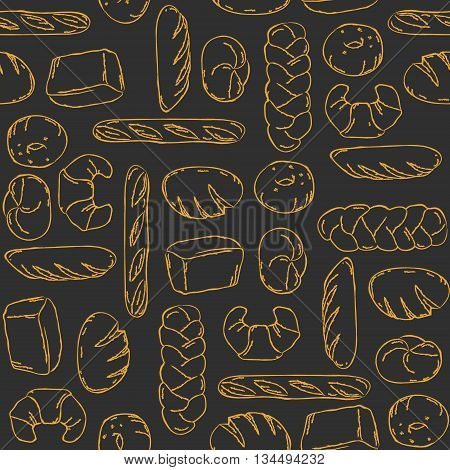 Vector. Bake Bread mix seamless background. Good for packaging wrapping paper or other accessories for bakery. Black and beige pattern.