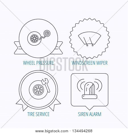 Wheel pressure, tire service and siren alarm icons. Car repair service station linear sign. Award medal, star label and speech bubble designs. Vector
