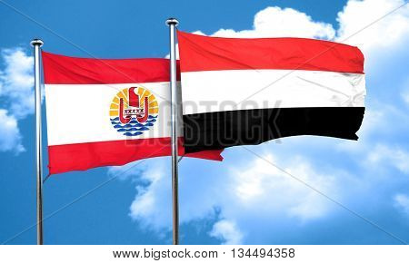 french polynesia flag with Yemen flag, 3D rendering