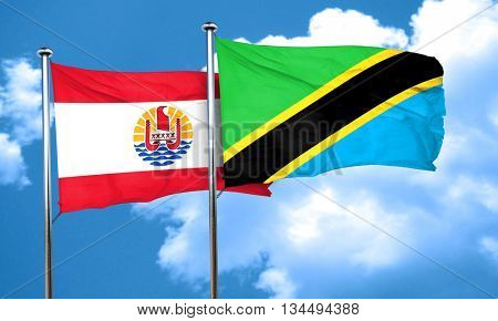 french polynesia flag with Tanzania flag, 3D rendering