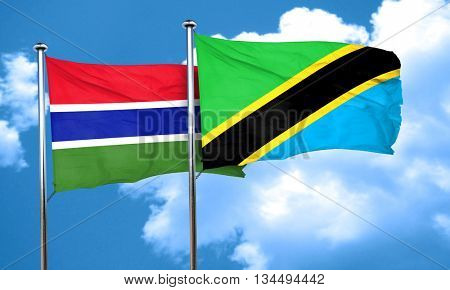 Gambia flag with Tanzania flag, 3D rendering