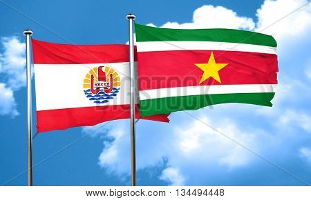 french polynesia flag with Suriname flag, 3D rendering