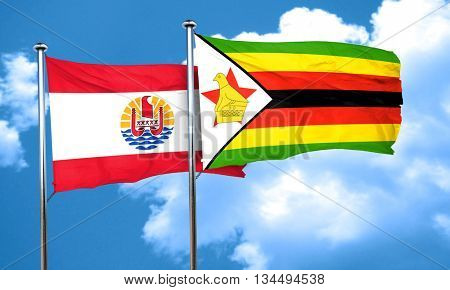 french polynesia flag with Zimbabwe flag, 3D rendering