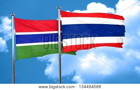 Gambia flag with Thailand flag, 3D rendering