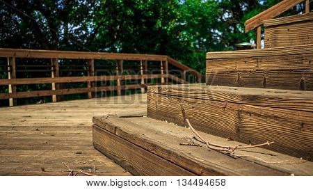 Wood Deck, backyard wooden deck in summer