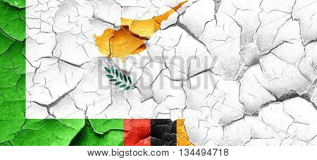 Zambia flag with Cyprus flag on a grunge cracked wall
