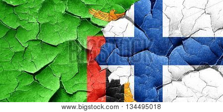 Zambia flag with Finland flag on a grunge cracked wall