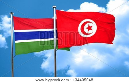 Gambia flag with Tunisia flag, 3D rendering