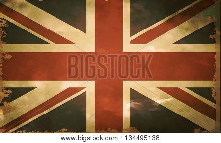 British flag grange old style in vintage colors