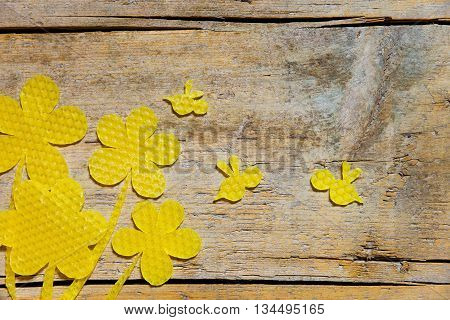 Beeswax, Flowers And Bees On Wooden Table, Copyspace