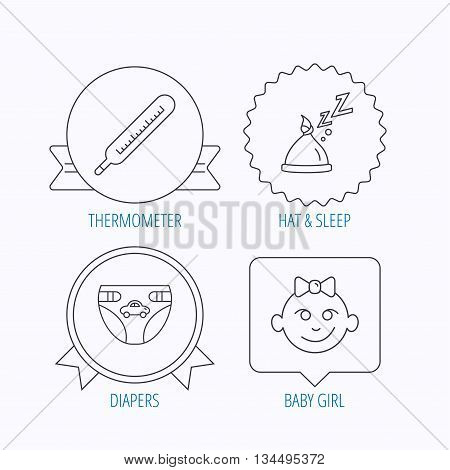 Thermometer, diapers and sleep hat icons. Baby girl linear sign. Award medal, star label and speech bubble designs. Vector