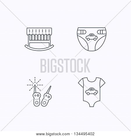 Newborn clothes, diapers and sleep cradle icons. Radio monitoring linear sign. Flat linear icons on white background. Vector