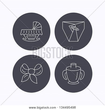 Baby mug, diapers and cradle bed icons. Bow linear sign. Flat icons in circle buttons on white background. Vector