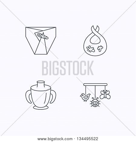 Diapers, child mug and baby toys icons. Dirty bib linear sign. Flat linear icons on white background. Vector