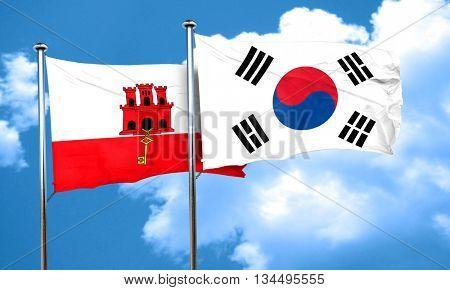 gibraltar flag with South Korea flag, 3D rendering