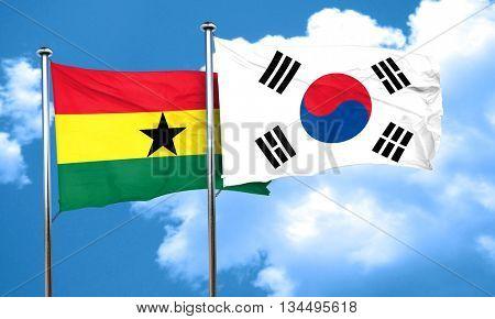 Ghana flag with South Korea flag, 3D rendering