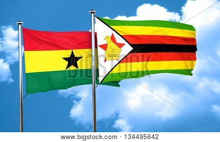 Ghana flag with Zimbabwe flag, 3D rendering