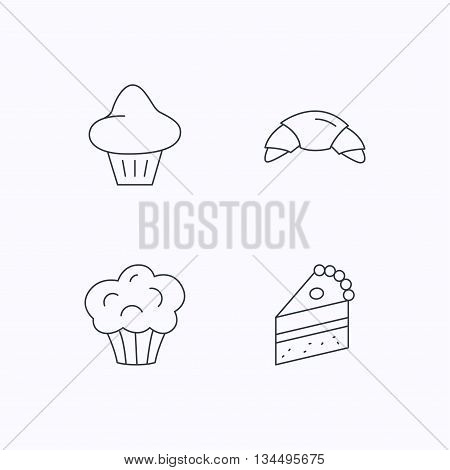 Croissant, brioche and piece of cake icons. Sweet muffin linear sign. Flat linear icons on white background. Vector
