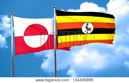 greenland flag with Uganda flag, 3D rendering
