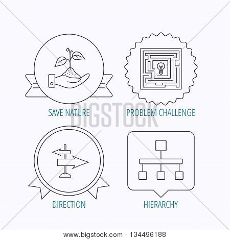 Hierarchy, save nature and direction arrow icons. Maze linear sign. Award medal, star label and speech bubble designs. Vector