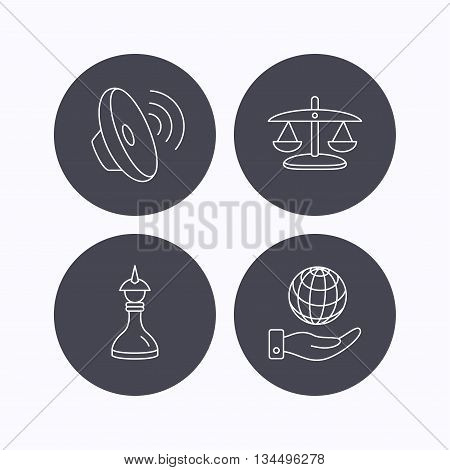 Strategy, sound and scales of justice icons. Save planet linear sign. Flat icons in circle buttons on white background. Vector