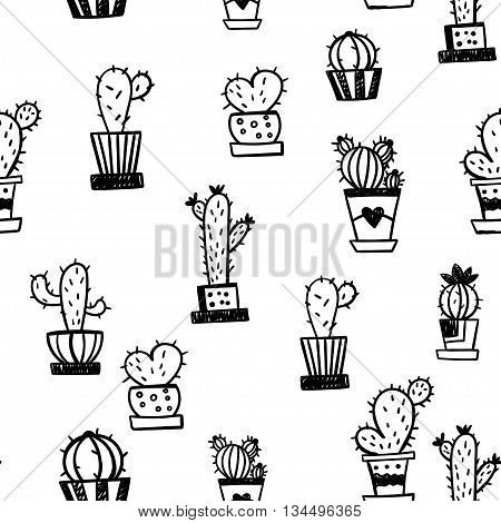 Seamless pattern with cartoon cactus on a white background. Vector illustration.