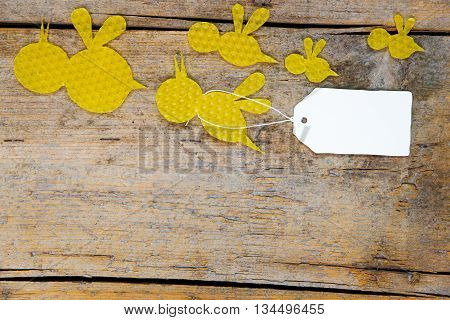 Beeswax, Flying Bees On Wooden Table, Empty Note