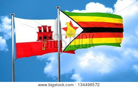 gibraltar flag with Zimbabwe flag, 3D rendering