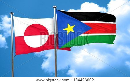 greenland flag with South Sudan flag, 3D rendering