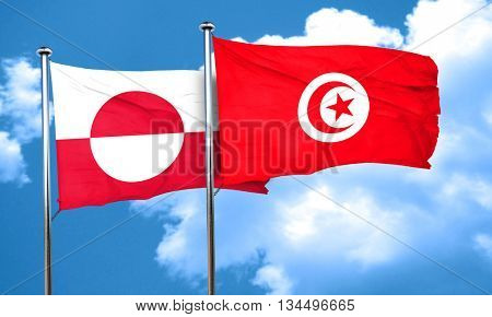 greenland flag with Tunisia flag, 3D rendering