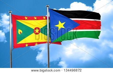 Grenada flag with South Sudan flag, 3D rendering