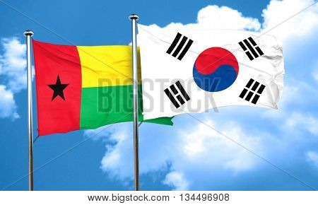 Guinea bissau flag with South Korea flag, 3D rendering