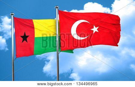 Guinea bissau flag with Turkey flag, 3D rendering