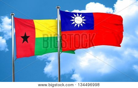 Guinea bissau flag with Taiwan flag, 3D rendering
