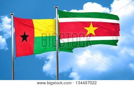 Guinea bissau flag with Suriname flag, 3D rendering