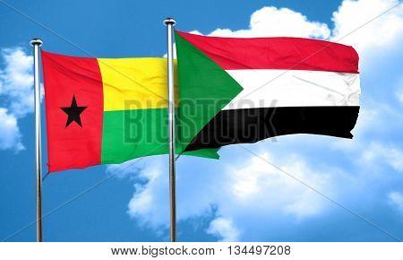 Guinea bissau flag with Sudan flag, 3D rendering