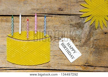 Beeswax, Cake With Candles And Sun On Wooden Table, Happy Birthday